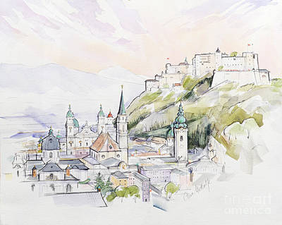Village Painting - Salzburg Sunrise  by Clive Metcalfe