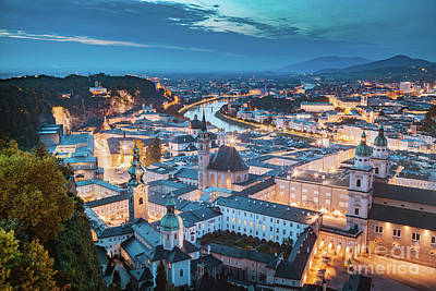 Photograph - Salzburg Twilight Panorama by JR Photography