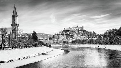 Photograph - Salzburg Winter Fairy Tale Bw by JR Photography