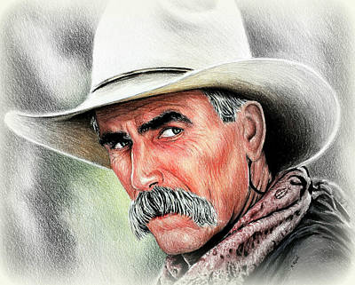 Painting - Sam Elliot Cowboy  by Andrew Read