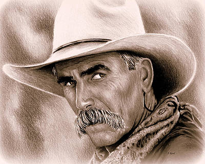 Drawing - Sam Elliot Cowboy Sepia by Andrew Read