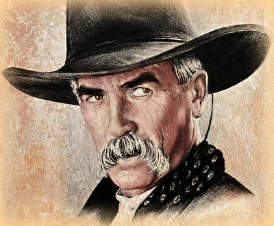 Drawing - Sam Elliot Portrait Ver by Andrew Read