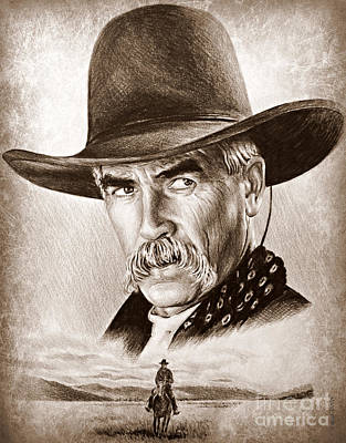 Land Of The Free Drawing - Sam Elliot The Lone Rider by Andrew Read