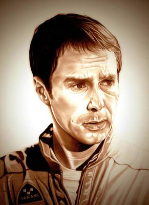 Astronauts Drawing - Sam Rockwell Moon by Fred Larucci
