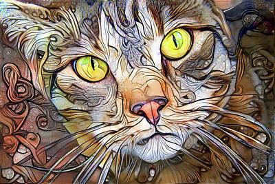 Digital Art - Sam The Brown Tabby Cat by Peggy Collins