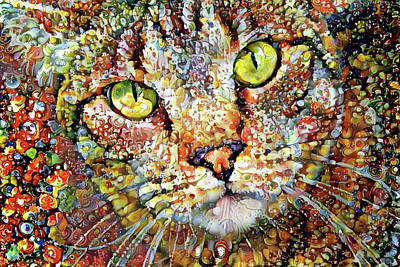 Digital Art - Sam The Colorful Tabby Cat by Peggy Collins