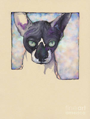 Mixed Media - Sam The Sphynx by Lora Serra