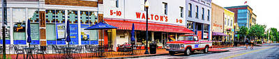 Photograph - Sam Walton Classic Ford Truck And Bentonville Skyline Panorama by Gregory Ballos