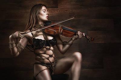 Art Nude Erotic Bondage Photograph - Samantha Bentley/badbentley, Violin - Fine Art Of Bondage by Rod Meier