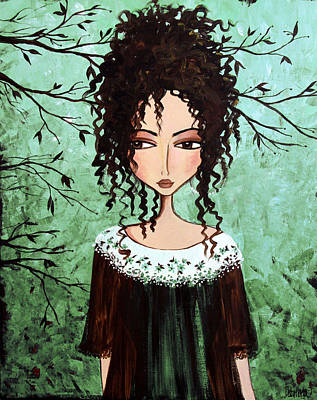 Green Mixed Media - Samantha's Chocolate Tree by Debbie Horton