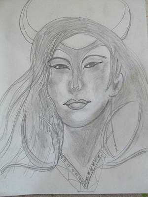 Drawing - Samarai Warrior Woman by Sharyn Winters
