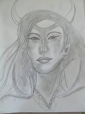 Drawing - Samarai Warrior Woman by Sharyn Winters