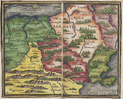 Photograph - Samartia Map By Johannes Honter 1542 by Rick Bures