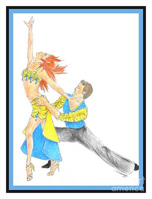 Ballroom Drawing - Samba -- The Original -- Portrait Of 2 Samba Dancers by Jayne Somogy