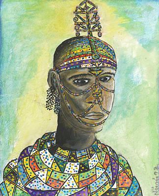 Kenyan Painting - Samburu Girl by Ken Nganga