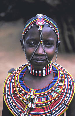 Photograph - Samburu Maiden Wears Beads by Carl Purcell