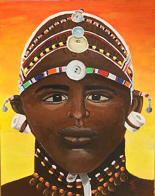 Painting - Samburu Warrior  by Karen Buford
