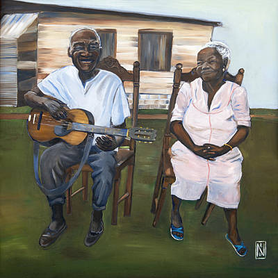 Black Man Playing Guitar Painting - Same Old Sweet Song by Natalie Daise