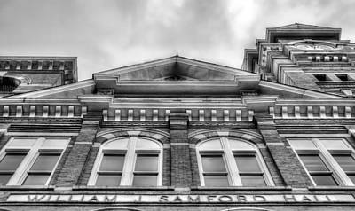 Samford Hall Auburn University  Black And White Art Print by JC Findley