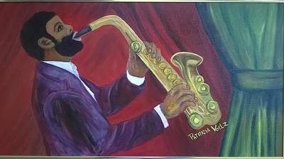 Painting - Sammy Plays The Sax by Patricia Voelz