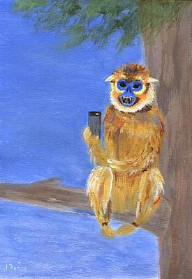 Painting - Sammy The Snub Nosed Golden Monkey by Jamie Frier