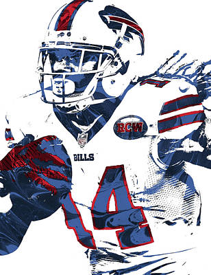Bill Mixed Media - Sammy Watkins Buffalo Bills Pixel Art by Joe Hamilton