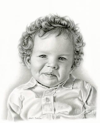 Black Curly Hair Drawing - Sammy's Smile by Sarah Batalka