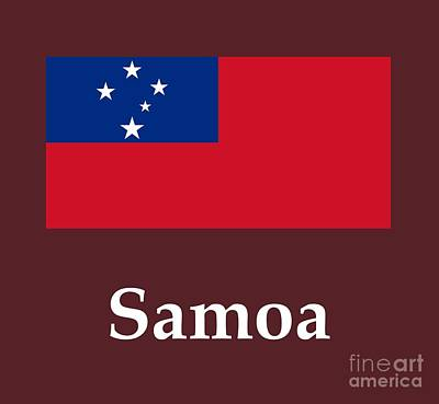 Impressionist Landscapes - Samoa Flag And Name by Frederick Holiday
