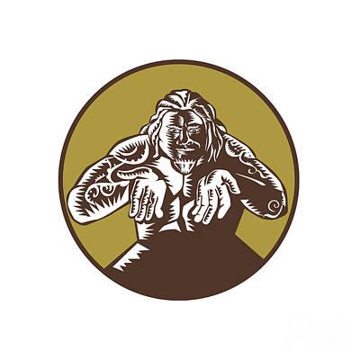 Samoan God Tagaloa Arms Out Circle Woodcut Art Print by Aloysius Patrimonio