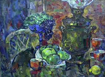 Teapot Painting - Samovar And Apples by Ivan Filichev