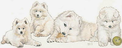 Samoyed Puppies Original by Barbara Keith