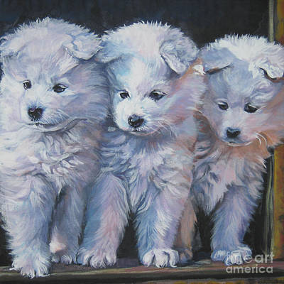 Painting - Samoyed Pups by Lee Ann Shepard