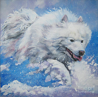 Samoyed Painting - Samoyed Running In Snow by Lee Ann Shepard