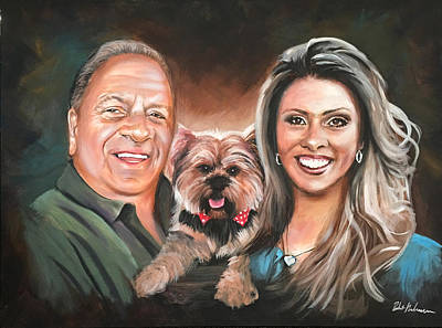 Painting - Family Portrait With Dog by Robert Korhonen