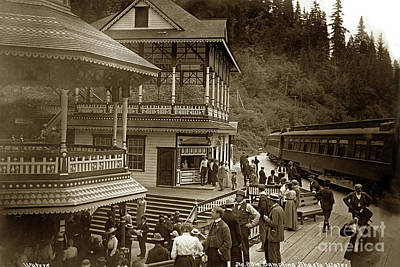Photograph - Sampling Shasta Water With Some Passengers That Disembark The Train 1906 by California Views Archives Mr Pat Hathaway Archives