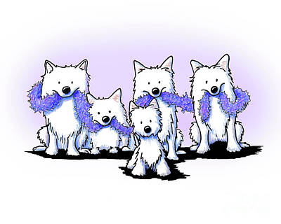 Westie Terrier Drawing - Sams And Westie by Kim Niles