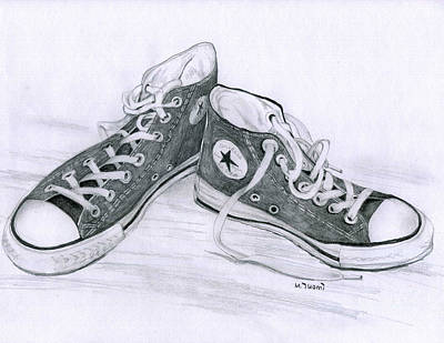 Tennis Shoe Drawing - Sam's Shoes by Mary Tuomi