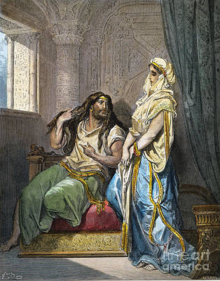 Drawing - Samson And Delilah by Gustave Dore
