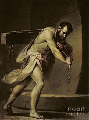 Samson In The Treadmill Print by Giacomo Zampa