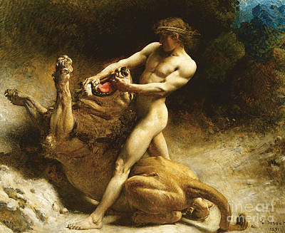 Old Books Painting - Samson's Youth by Leon Joseph Florentin Bonnat