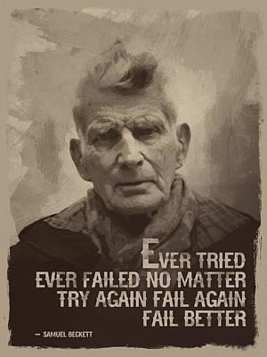 Retro Digital Art - Samuel Beckett Quote by Afterdarkness