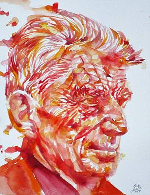 Painting - Samuel Beckett  Watercolor Portrait.11 by Fabrizio Cassetta