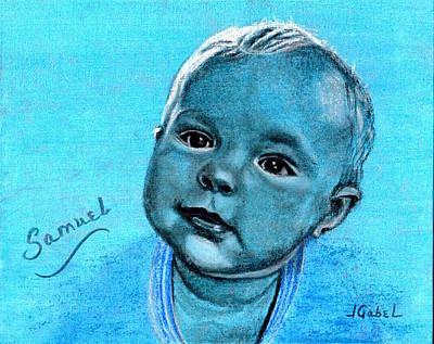 Wall Art - Drawing - Samuel Blue Boy by Laura Gabel