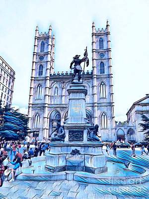 Montreal Mixed Media - Samuel Champlain And The Notre Dame Cathedral In Old Montreal In Blue by John Malone