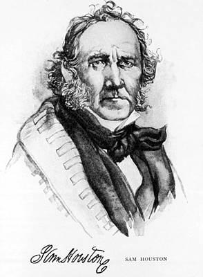 Jt History Photograph - Samuel Houston, 1793-1863, American by Everett