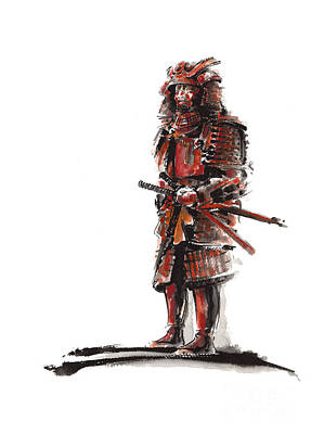 Aquarelle Painting - Samurai Armor by Mariusz Szmerdt
