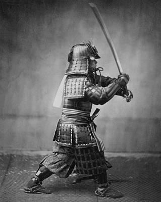 Samurai Brandishing His Sword - Japanese History Print by War Is Hell Store