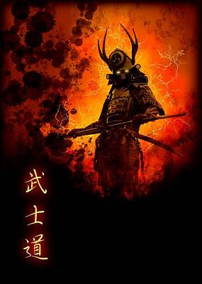 Digital Art - Samurai Bushido Warrior by John Wills