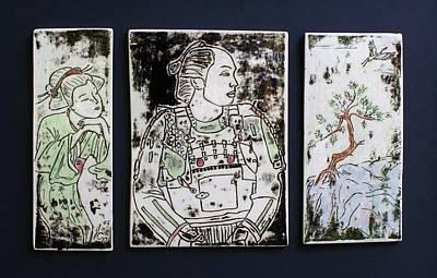 Japanese Ceramics Painting - Samurai Dreams by Jackie Ramo