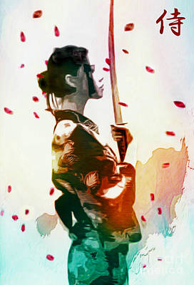 Painting - Samurai Girl - Watercolor Painting by Ian Gledhill